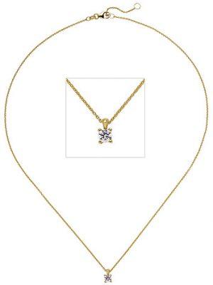 SIGO Collier Kette mit Anhänger 585 Gold Gelbgold 1 Diamant Brillant 0,15 ct. 45 cm