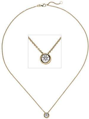 SIGO Collier Kette mit Anhänger 585 Gold Gelbgold 1 Diamant Brillant 0,50 ct. 45 cm