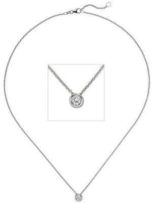 SIGO Collier Kette mit Anhänger 585 Gold Weißgold 1 Diamant Brillant 0,15 ct. 45 cm