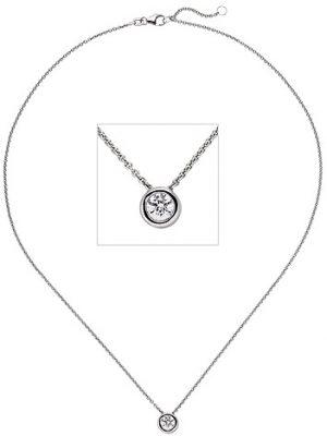 SIGO Collier Kette mit Anhänger 585 Gold Weißgold 1 Diamant Brillant 0,5 ct. 45 cm