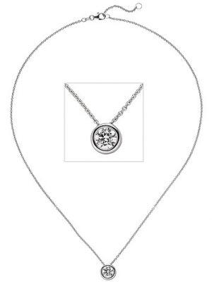 SIGO Collier Kette mit Anhänger 585 Gold Weißgold 1 Diamant Brillant 1,0 ct. 45 cm