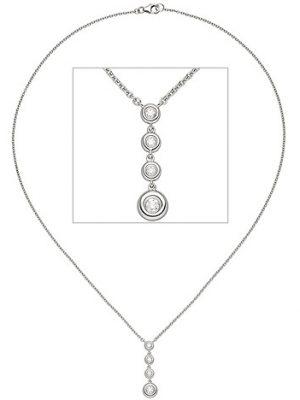 SIGO Collier Kette mit Anhänger 585 Gold Weißgold 4 Diamanten Brillanten 43 cm