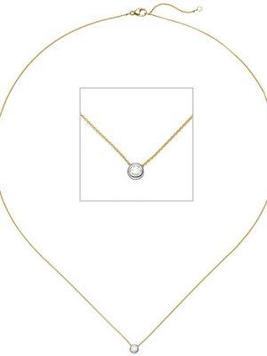 SIGO Collier Kette mit Anhänger 750 Gold Gelbgold Weißgold bicolor 1 Diamant Brillant