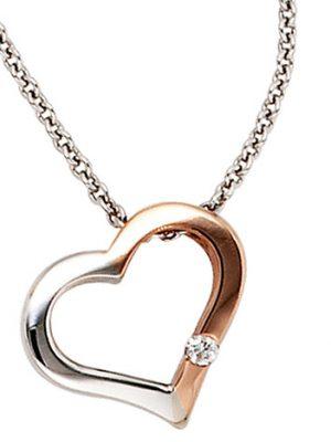 SIGO Collier Kette mit Anhänger Herz 585 Gold bicolor 1 Diamant Brillant 42 cm