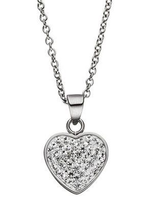 SIGO Collier Kette mit Anhänger Herz aus Edelstahl mit Kristallen 45 cm