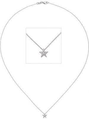 SIGO Collier Kette mit Anhänger Stern 585 Gold Weißgold 16 Diamanten Brillanten 42 cm