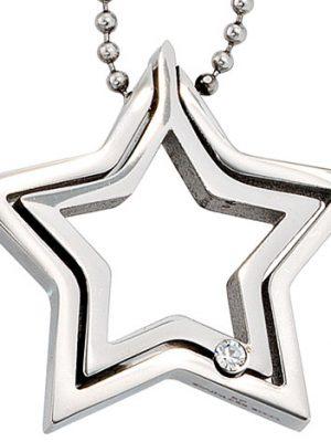 SIGO Collier Kette mit Anhänger Stern Edelstahl 1 Kristall 48 cm Halskette