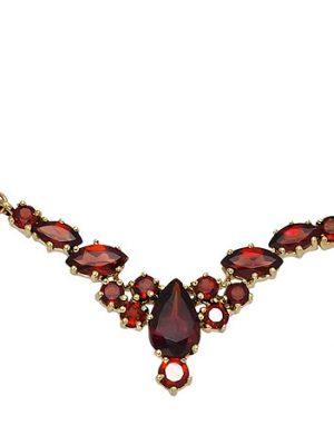 SIGO Collier Statement Halskette 333 Gold Gelbgold 14 Granate rot 42 cm Kette