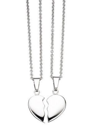SIGO Collier aus 2 Ketten mit geteiltem Anhänger Herz Edelstahl 45 cm Partneranhänger