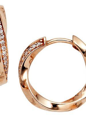 SIGO Creolen 585 Gold Rotgold 30 Diamanten Brillanten Ohrringe Rotgoldcreolen
