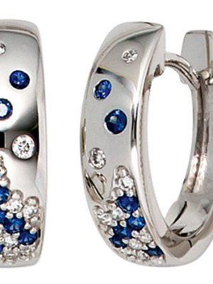 SIGO Creolen 585 Gold Weißgold 18 Diamanten Brillanten 14 Safire blau Ohrringe