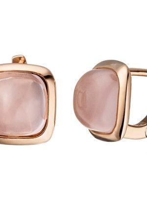 SIGO Creolen 925 Silber rotgold vergoldet 2 rosa Glassteine Ohrringe