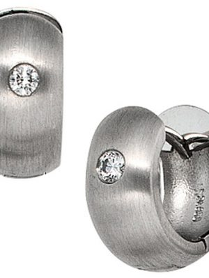 SIGO Creolen breit 950 Platin mattiert 2 Diamanten Brillanten Ohrringe Platinohrringe