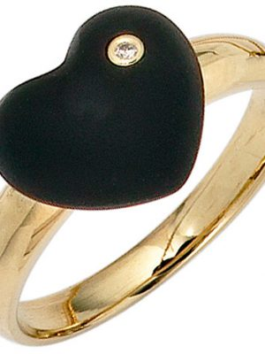 SIGO Damen Herz Ring 585 Gold Gelbgold 1 Onyx schwarz 1 Diamant Brillant Goldring