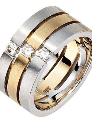SIGO Damen Ring 3-reihig breit 585 Gold Weißgold Gelbgold bicolor matt 3 Diamanten