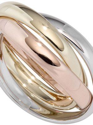SIGO Damen Ring 3-reihig verschlungen 585 Gold tricolor dreifarbig Goldring