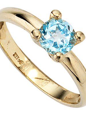 SIGO Damen Ring 333 Gold Gelbgold 1 Blautopas hellblau blau Goldring