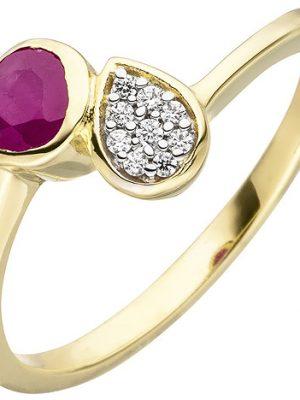SIGO Damen Ring 333 Gold Gelbgold 1 Rubin rot 9 Zirkonia Rubinring