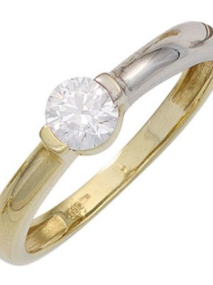 SIGO Damen Ring 333 Gold Gelbgold Weißgold bicolor 1 Zirkonia Goldring