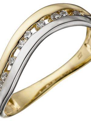 SIGO Damen Ring 333 Gold Gelbgold Weißgold bicolor mit Zirkonia Goldring