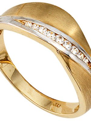 SIGO Damen Ring 333 Gold Gelbgold bicolor mattiert 9 Zirkonia Goldring