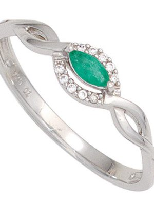 SIGO Damen Ring 333 Gold Weißgold 1 Smaragd grün 10 Diamanten Brillanten Goldring