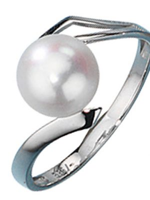 SIGO Damen Ring 333 Gold Weißgold 1 Süßwasser Perle Goldring Perlenring