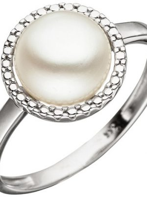 SIGO Damen Ring 333 Gold Weißgold 1 Süßwasser Perle Perlenring Weißgoldring