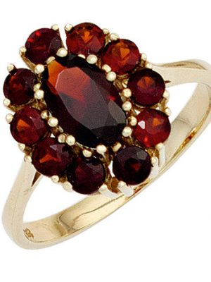 SIGO Damen Ring 375 Gold Gelbgold 11 Granate rot Goldring