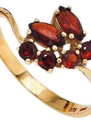 SIGO Damen Ring 375 Gold Gelbgold 6 Granate rot Goldring