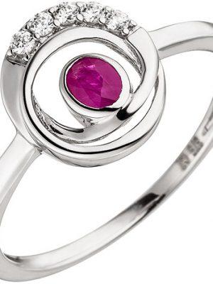 SIGO Damen Ring 375 Gold Weißgold 5 Zirkonia 1 Rubin Rubinring Weißgoldring