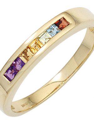 SIGO Damen Ring 585 Gelbgold 2 Amethyste 2 Citrine 1 Granat 1 Peridot 1 Blautopas