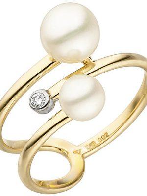SIGO Damen Ring 585 Gelbgold 2 Süßwasser Perlen 1 Diamant Brillant