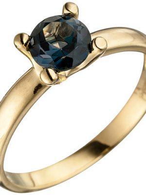SIGO Damen Ring 585 Gold Gelbgold 1 Blautopas blau London Blue Goldring