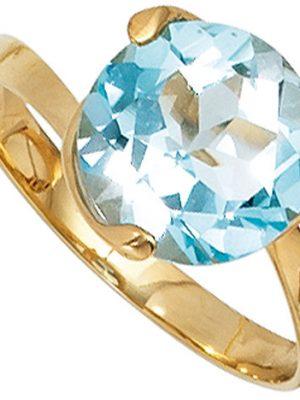 SIGO Damen Ring 585 Gold Gelbgold 1 Blautopas hellblau blau Goldring