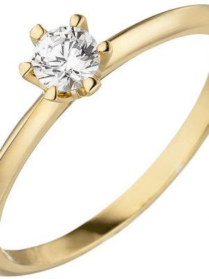 SIGO Damen Ring 585 Gold Gelbgold 1 Diamant Brillant 0,15 ct. Diamantring Solitär