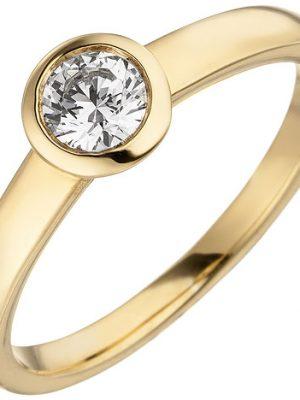 SIGO Damen Ring 585 Gold Gelbgold 1 Diamant Brillant 0,25 ct. Diamantring Solitär