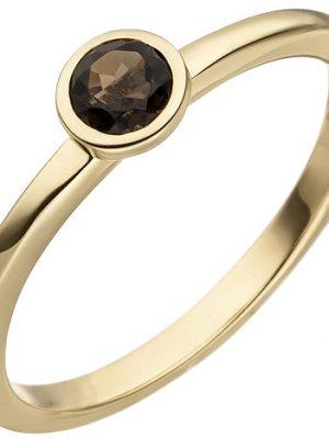 SIGO Damen Ring 585 Gold Gelbgold 1 Rauchquarz Goldring
