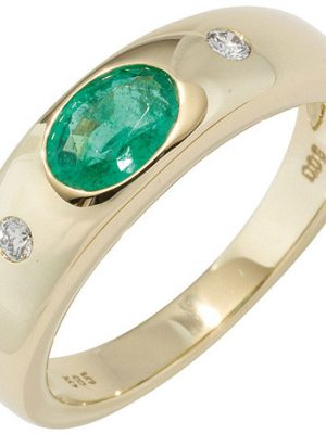 SIGO Damen Ring 585 Gold Gelbgold 1 Smaragd grün 2 Diamanten Brillanten Goldring