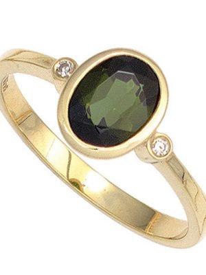 SIGO Damen Ring 585 Gold Gelbgold 1 Turmalin grün 2 Diamanten 0,02ct. Goldring