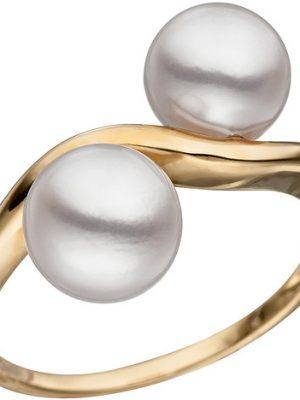 SIGO Damen Ring 585 Gold Gelbgold 2 Akoya Perlen Perlenring Goldring