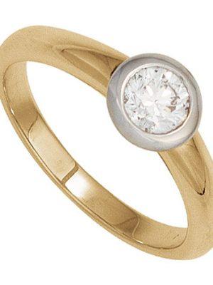 SIGO Damen Ring 585 Gold Gelbgold Weißgold 1 Diamant Brillant 0,15ct. Goldring