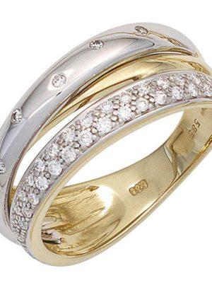 SIGO Damen Ring 585 Gold Gelbgold Weißgold bicolor 41 Diamanten Brillanten Goldring