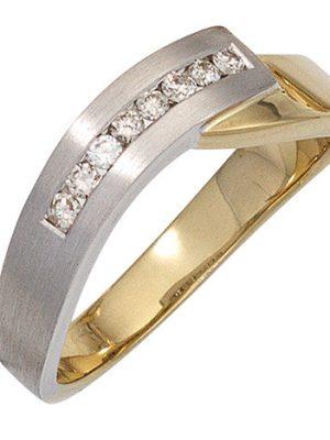 SIGO Damen Ring 585 Gold Gelbgold Weißgold bicolor teilmatt 8 Diamanten Brillanten