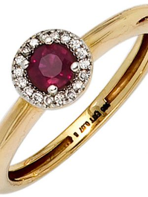 SIGO Damen Ring 585 Gold Gelbgold bicolor 1 Rubin rot 18 Diamanten Brillanten