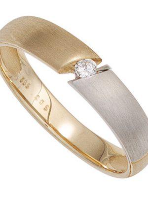 SIGO Damen Ring 585 Gold Gelbgold bicolor matt 1 Diamant Brillant 0,05ct. Goldring