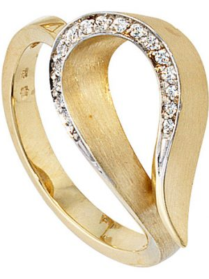 SIGO Damen Ring 585 Gold Gelbgold bicolor teilmatt 16 Diamanten Brillanten Goldring
