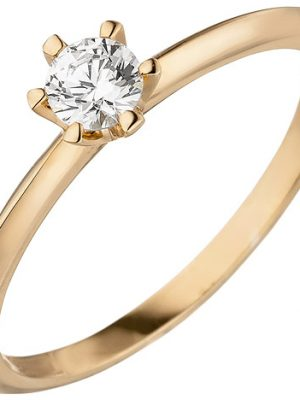 SIGO Damen Ring 585 Gold Rotgold 1 Diamant Brillant 0,15 ct. Diamantring Solitär