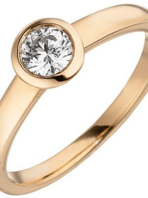 SIGO Damen Ring 585 Gold Rotgold 1 Diamant Brillant 0,15 ct. Diamantring Solitär