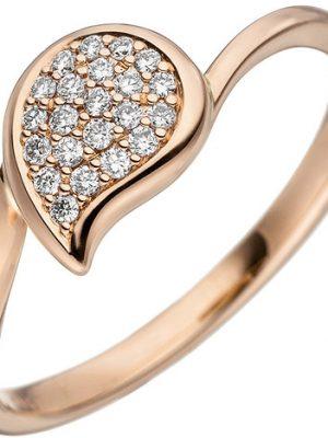 SIGO Damen Ring 585 Gold Rotgold 22 Diamanten Brillanten Diamantring Rotgoldring